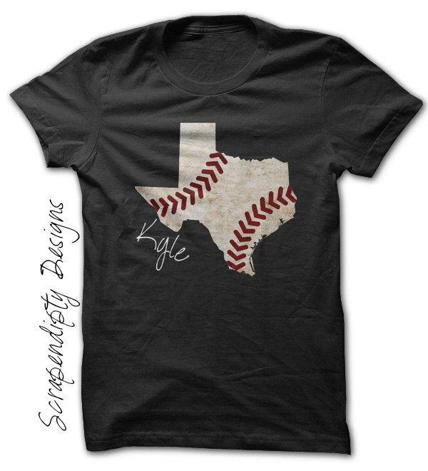 Texas Baseball Tee - Kids Baseball Shirt / State of Texas Baseball Outfit / Mens State Pride Tshirt / Baseball Texas Shirt / Customized Name by Scrapendipitees on Etsy