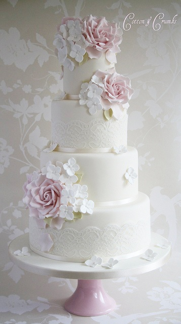 Vintage Couture White & Pink Wedding Cake