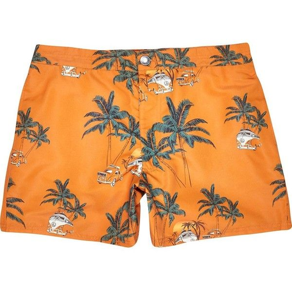 Orange Jack and Jones Vintage palm tree shorts (6.850 CLP) ❤ liked on Polyvore featuring men's fashion, men's clothing, men's shorts, sale, mens orange shorts, mens palm tree shorts and mens summer shorts