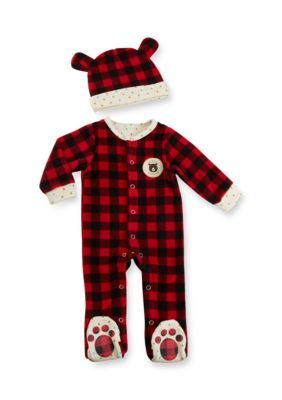 Baby Aspen  Red Red Plaid Fleece Pajama Gift Set