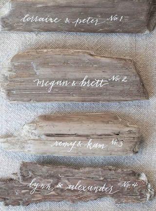木片の席札
