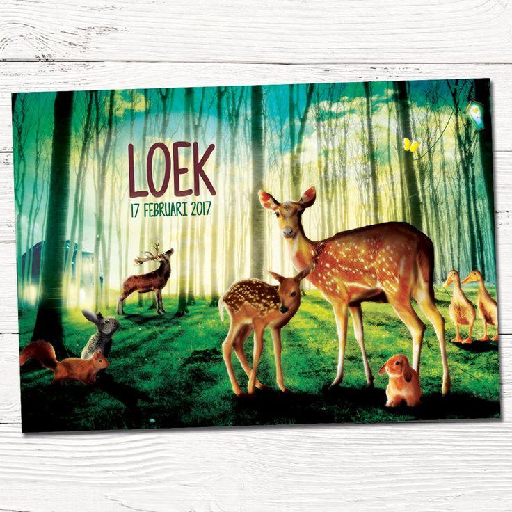 Geboortekaartje   origineel   bos   hertjes   vintage   retro   dieren   babykaartjes   Hier ben ik!