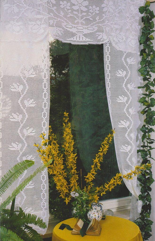 J'ai craqué pour ces rideaux romantiques à cantonnière. La cantonnière La coupe fleurie Le rideau vertical Petites fleurs Vous pouvez télécharger le tutoriel PDF de ce modèle en cliquant dans le rectangle qui suit. EXPLICATIONS ET SCHÉMAS RIDEAUX AU CROCHET...