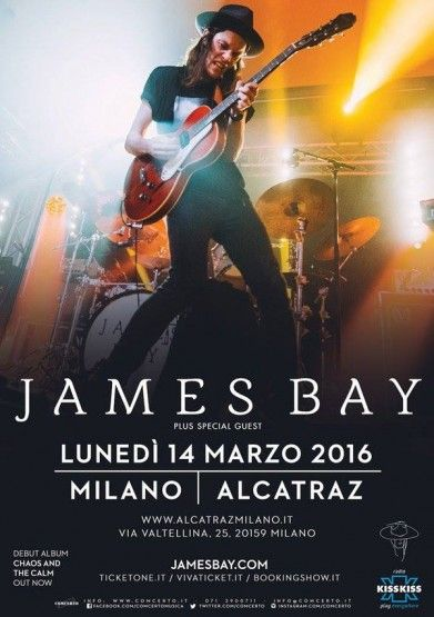 """""""James Bay in concerto in Italia, a Milano nel 2016: biglietti in prevendita su TicketOne"""" Prenota tua camera http://www.bedinmilano.com/it/"""
