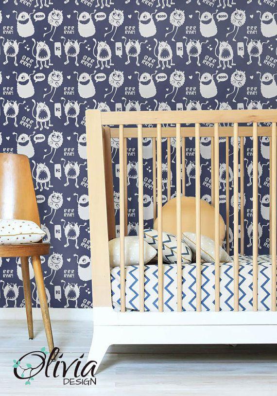 peel and stick selfadhesive vinyl removable wallpaper cute monster pattern wallpaper olb 041. Black Bedroom Furniture Sets. Home Design Ideas