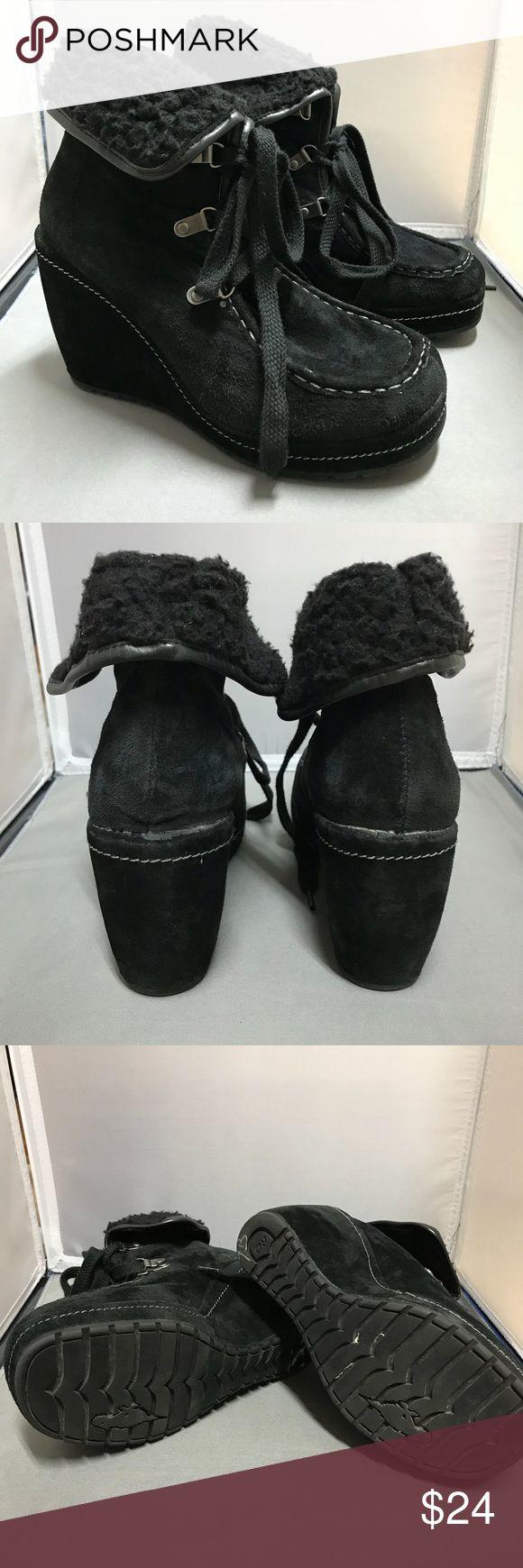 Rocket Dog black suede wedge sz 7 Rocket Dog black suede wedge size 7.  Like new condition. Rocket Dog Shoes Wedges