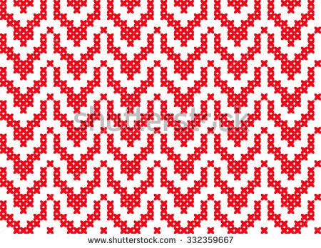 Slavic seamless pattern ornament cross stitch. Pattern with hearts. Winter knitted pattern - stock vector