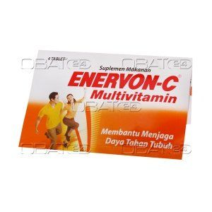 ENERVON C TAB STR 4'S  Komposisi: vitamin c 500mg, niasinamida 50 mg, kalsium pantotenat 20 mg, vitamin b1 50 mg, vitamin b2 25 mg, vitamin b6 10 mg, vitamin b12 5 mcg  Pabrik: medifarma