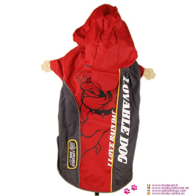 Red Bully Nylon Raincoat for Big Dogs - Nylon Raincoat for Big Dogs, in Red and Gray, with the picture of a bulldog on the back; closure is with buttons on the belly; with hood