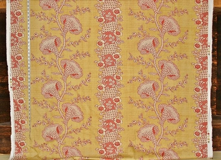 Yellow gold orange toile fabric colonial coxcomb flower stripe from Brick House Fabric: Novelty Fabric