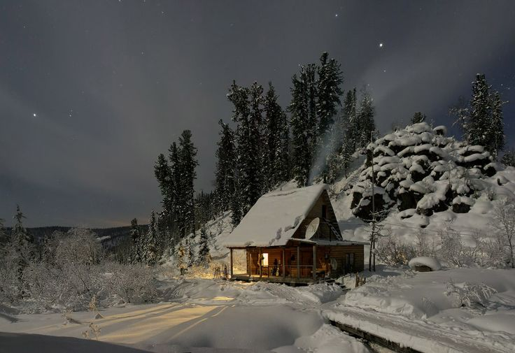 winter wonderland  Spot on DISH: Small Cabin, Cabin House, Winter Cabin, Little Cabin, Winter Wonderland, Winter Night, Place, Cabin Fever, Logs Cabin