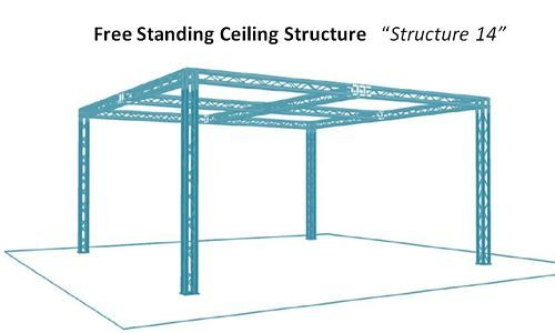 Free standing display truss booth with overhead structure. #tradeshowbooths #displaytruss