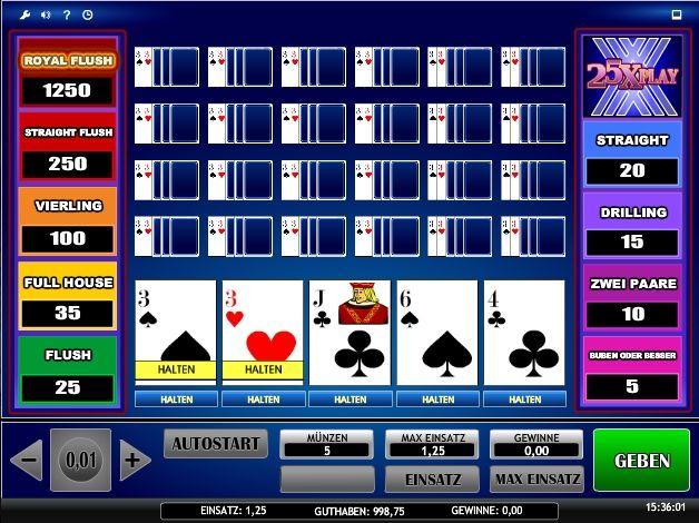 Video Poker 25x - 25 Hände feinstes Video Poker gleichzeitig