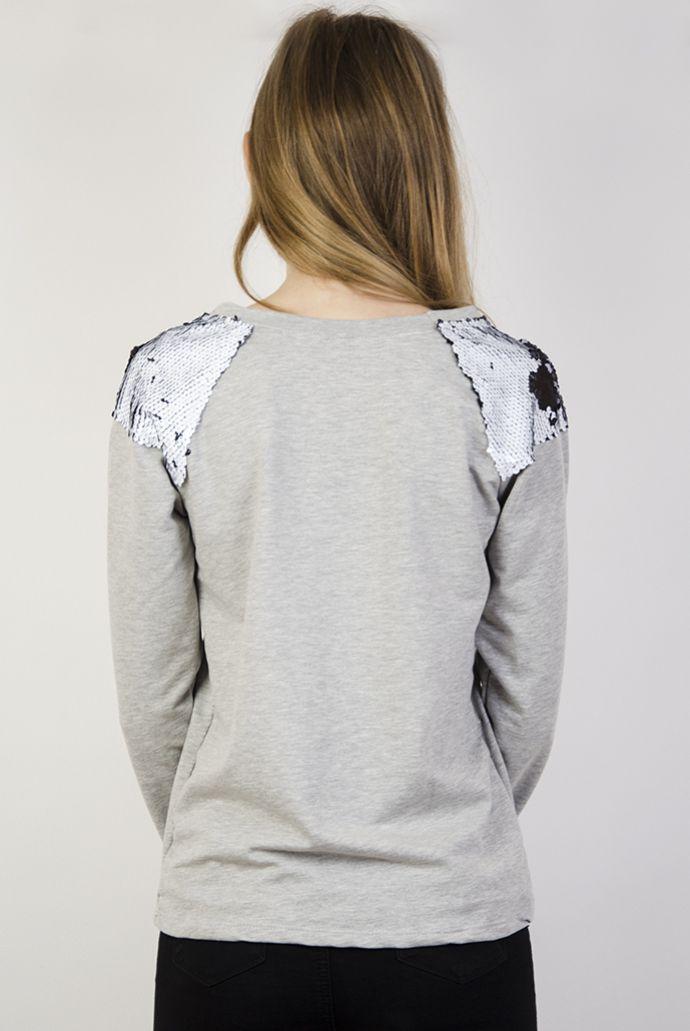 Szara bluzka ze zdobieniami z cekinów