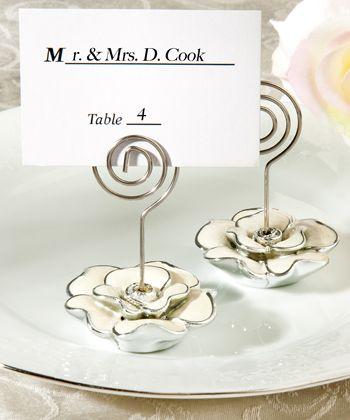 white rose design place card holder