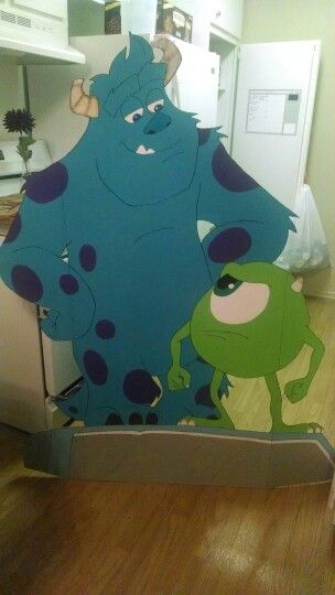 Monsters University Monsters Inc party cardboard cutouts Mike and Sulley handmade DIY