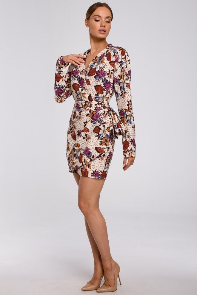 Sukienka Mini We Wzor Z Falbana Na Boku Kwiaty Galaxy Dress Dresses With Sleeves Dresses