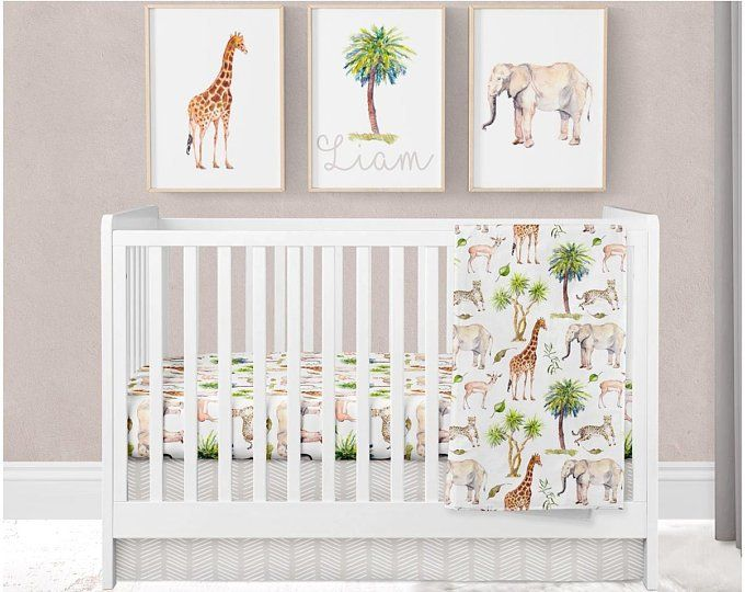 This Super Sweet Safari Crib Bedding Features Elephants And Giraffes And Would Be Perfect Baby Boy Nursery Bedding Baby Boy Room Nursery Baby Boy Crib Bedding