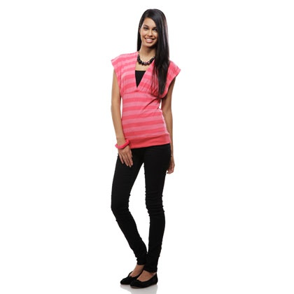 Pink Stripe V Neck Poly Cotton Long Top