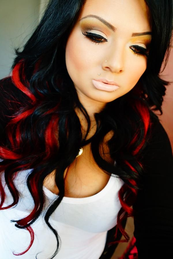 Black hair with red and blonde streaks
