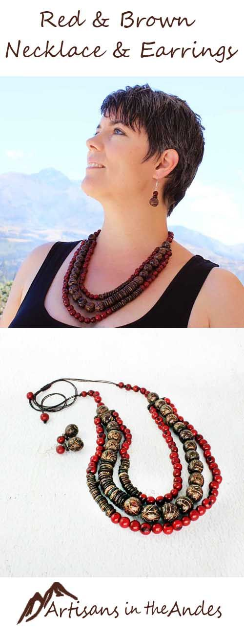 This is a gorgeous beaded necklace in lovely warm colors that will make your outfit extraordinary. The necklace has three strands, with a charming mix of red acai seeds, round coconut beads and larger pambil seeds from Ecuador. #fairtrade #fairtradefashion #fairtradejewelry #fairtradegifts