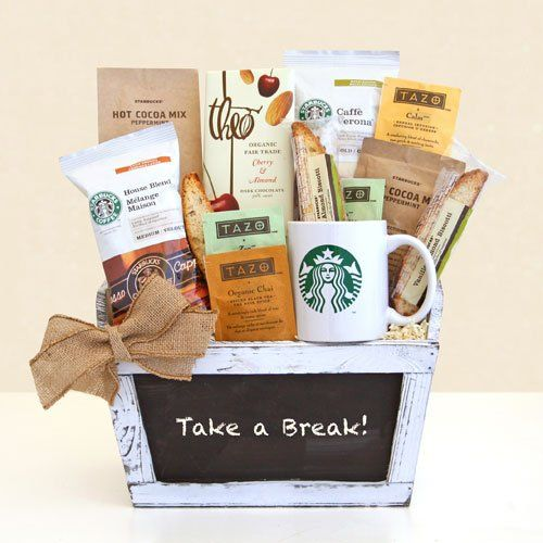 Starbucks Break Time Gourmet Coffee & Tazo Tea Gift Basket | Fathers Day Gift Basket for the Coffee Lover | Organic Stores Gift Baskets