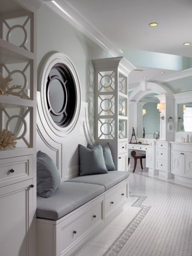 bathroom. Love the serene grey/white colors.  Elegant.Bathroom Design, Ideas, Powder Room, Dreams, Pinto Design, Sitting Area, Beautiful Bathroom, Master Bath, Eclectic Bathroom
