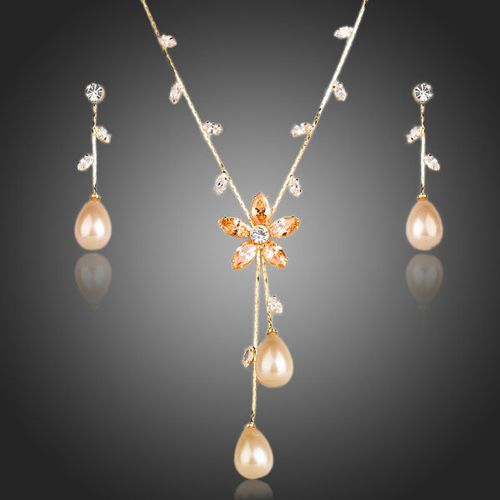 Gold Pearl Cubic Zirconia Earrings and Necklace Set