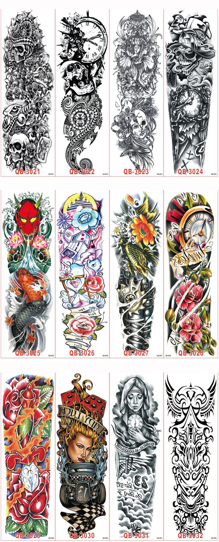 5 Unids Pierna Completa Del Brazo Falso Papel Pasta de Tatuajes Temporales A Prueba de agua Pegatinas Tatuaje Hombres Mujeres Manga Del Tatuaje Arte Corporal Tatuagem