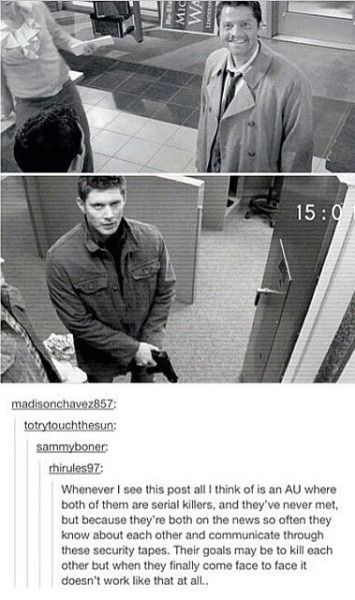destiel au | Tumblr. OHMYGOD OHMYGOD. GIVE THIS TO ME. I NEED THS. I WOULD READ THE *!?$@ OUT OF THIS.