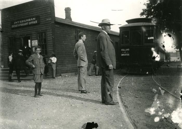 Interurban Ticket-Freight Office and the Holland and Saugatuck train.