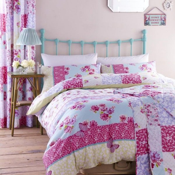Gypsy Patchwork Single Duvet Cover With Matching Bedspread Ideal For S Pink Blue