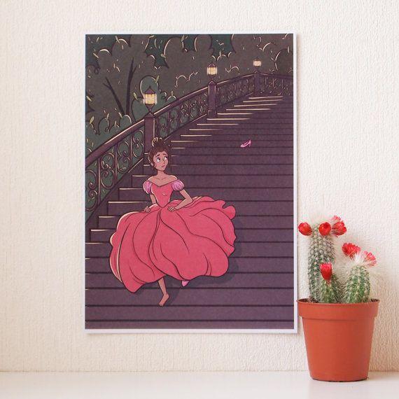 Cinderella fairy tale Art Print A5 size wall art by AdelaydeArt