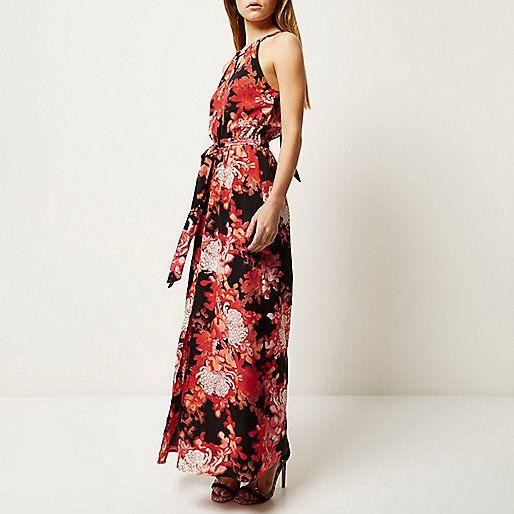 Rode halternek maxi-jurk met bloemenprint - lange jurken - jurken - dames