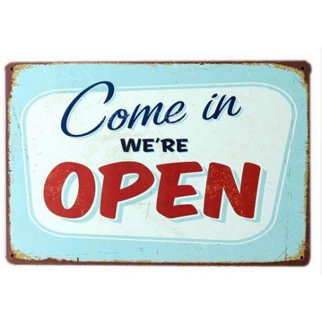 come in we're open #deco plaque metal