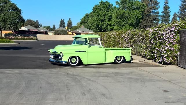 lowrodderchev's 1957 chevy truck - enjoying the sun