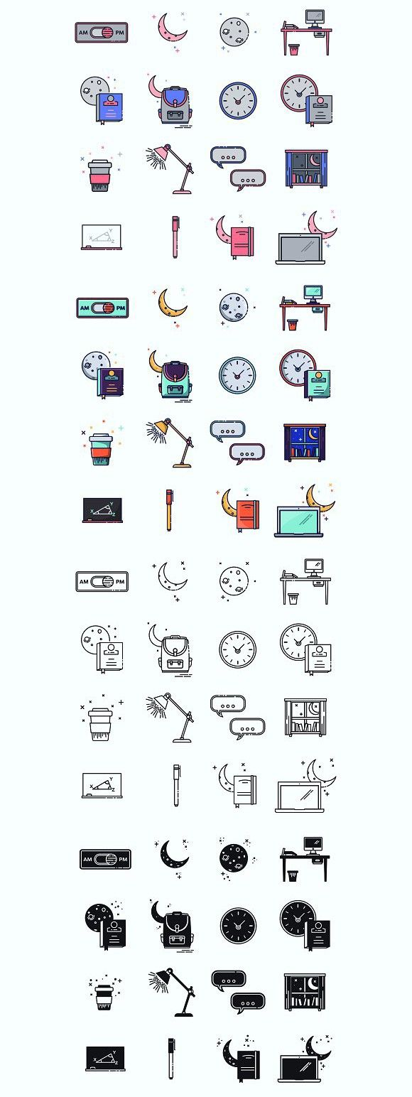 Evening course Icons. Travel Icons