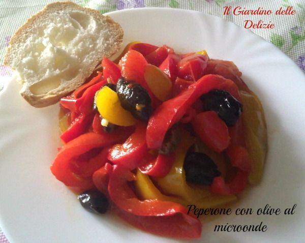 Peperone con olive al microonde