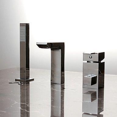 Moderne Badekar & Bruser bred spary Håndbruser inkluderet with Keramik Ventil Enkelt håndtag tre huller for Krom Badekarshaner