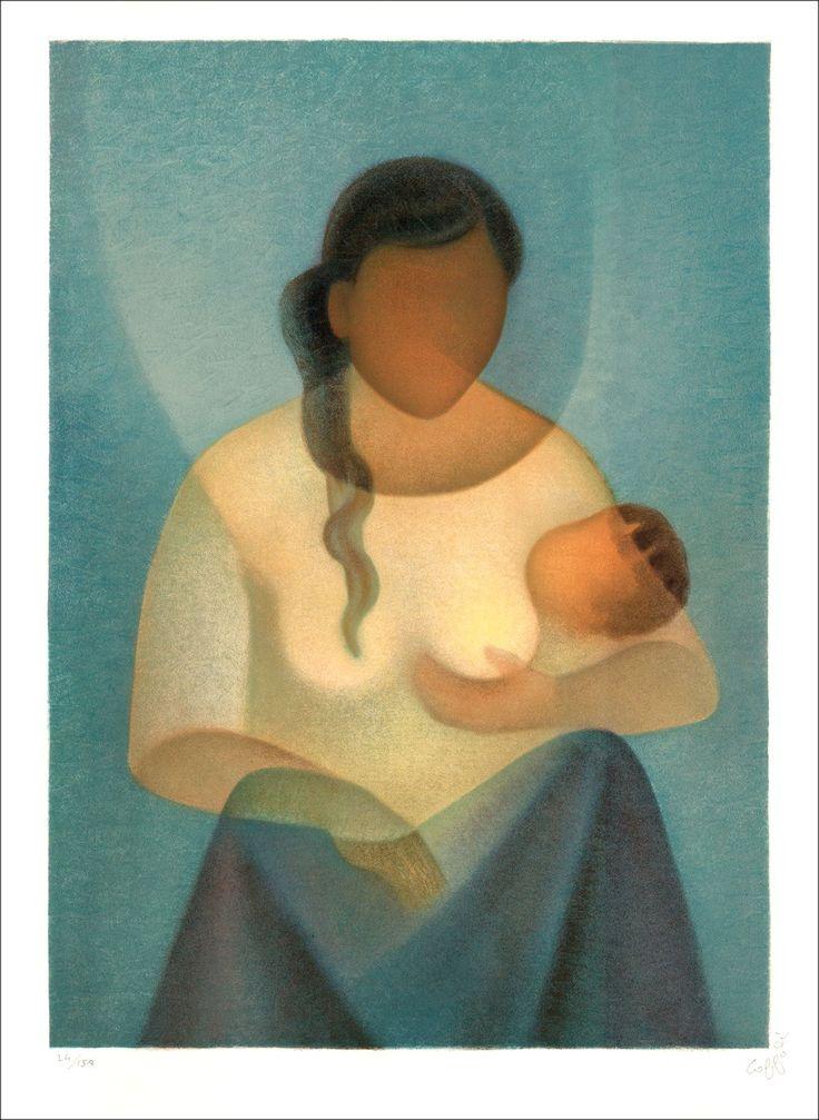 Louis TOFFOLI : Maternité Sereine , Lithographie Originale signée, 1986 : Galerie 125