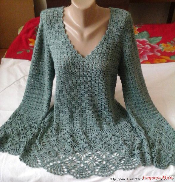 "Beautiful Crochet Sweater Tutorial - needs translation - Пуловер с ""паучками"". Крючок."