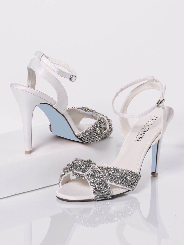Beaded Open Toe Wedding Shoe With 4 ½u201d Heel, Blue Leather Sole, And  Adjustable Ankle Strap With Buckle. Mon Cheri Shoes By Federico Leone:  Style No.