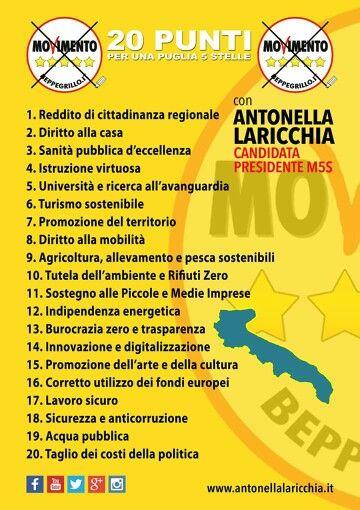 IL PROGRAMMA DI 20 PUNTI PER LA #PUGLIA #M5S #M5SPUGLIA #NOIANDIAMOAVANTI