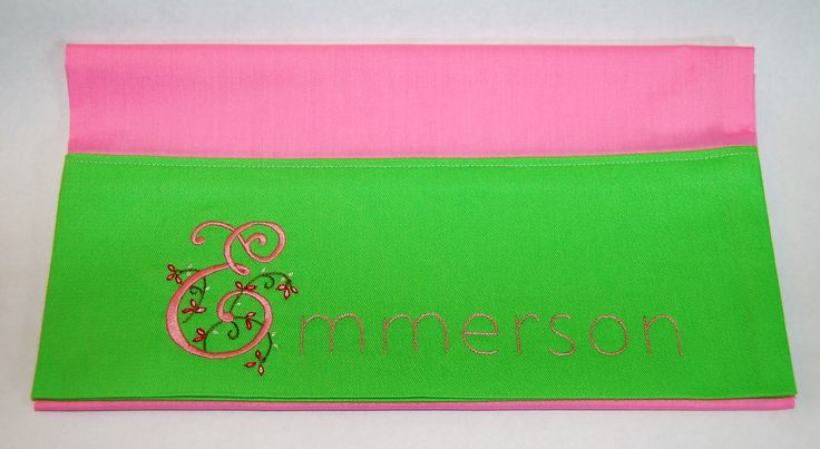 Hand embroidered Emmerson on toddler pillowcase; lime green and pink; 10.31.17