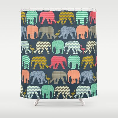 baby elephants and flamingos Shower Curtain by Sharon Turner - $68.00