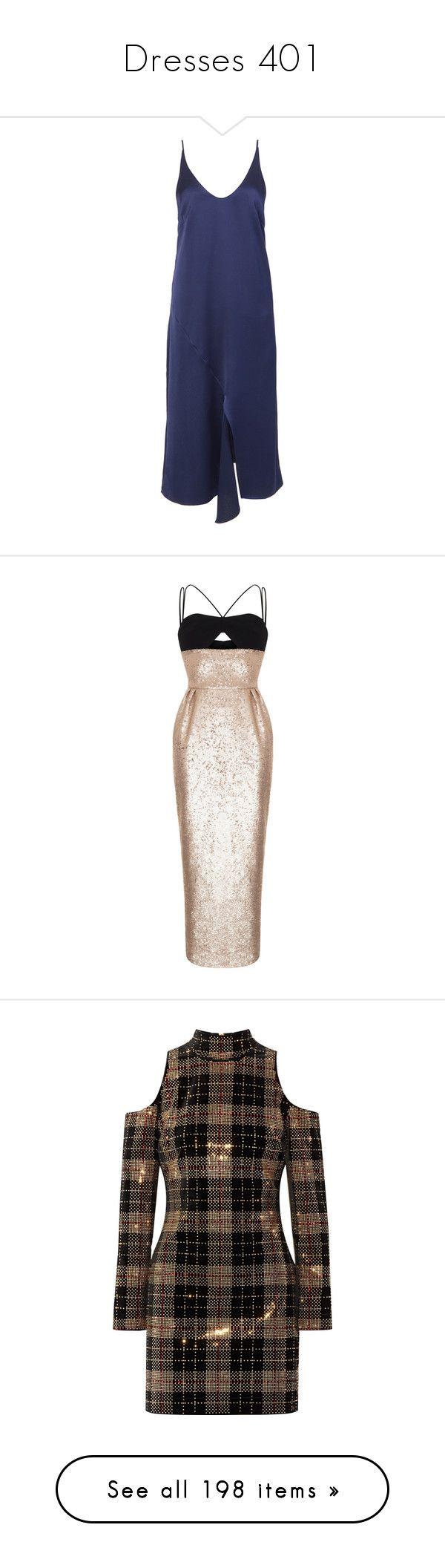 """Dresses 401"" by singlemom ❤ liked on Polyvore featuring dresses, front slit dress, blue color dress, tibi, satin dress, satin slip dresses, rasario, metallic, fitted waist dress and crepe dress"