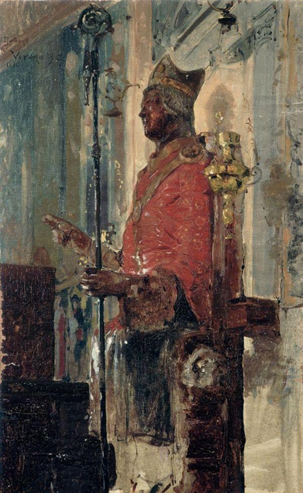 Edoardo Dalbono, La statua di San Zeno, 1880, olio su tela incollata su masonite, cm 46 x 29, Fondazione Domus per l'arte moderna e contemporanea