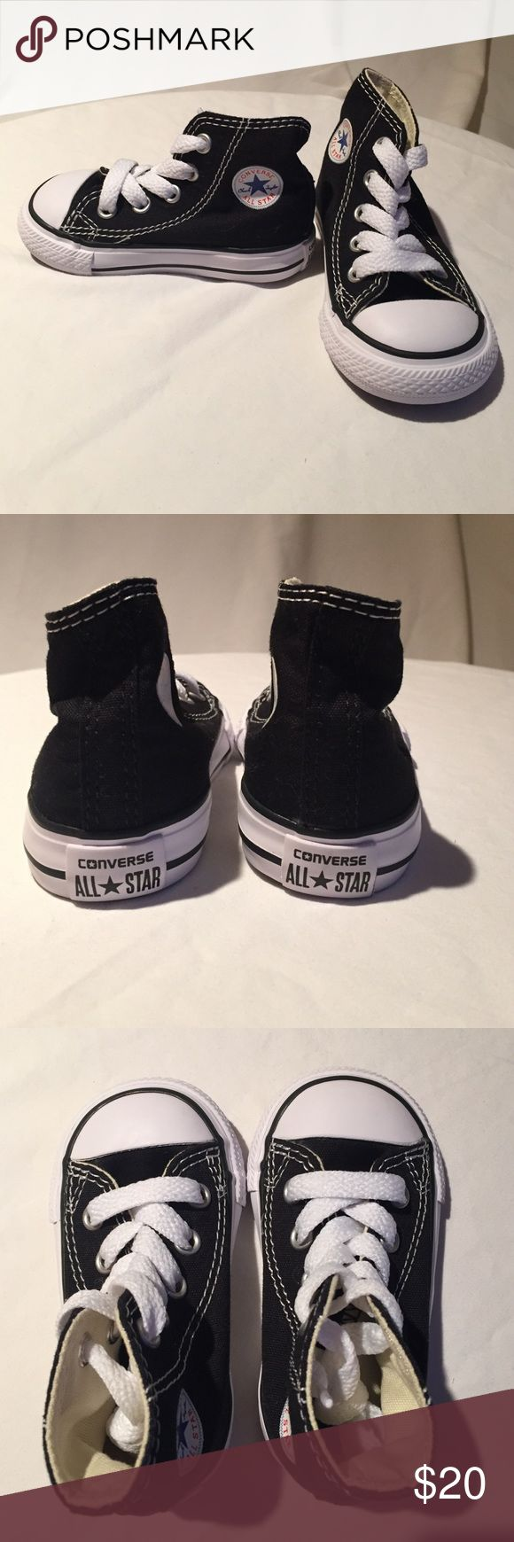 Toddler Black High Top Converse sz 4 NWOT Never worn or even undid the laces. Black high tops with white laces. Converse Shoes Sneakers