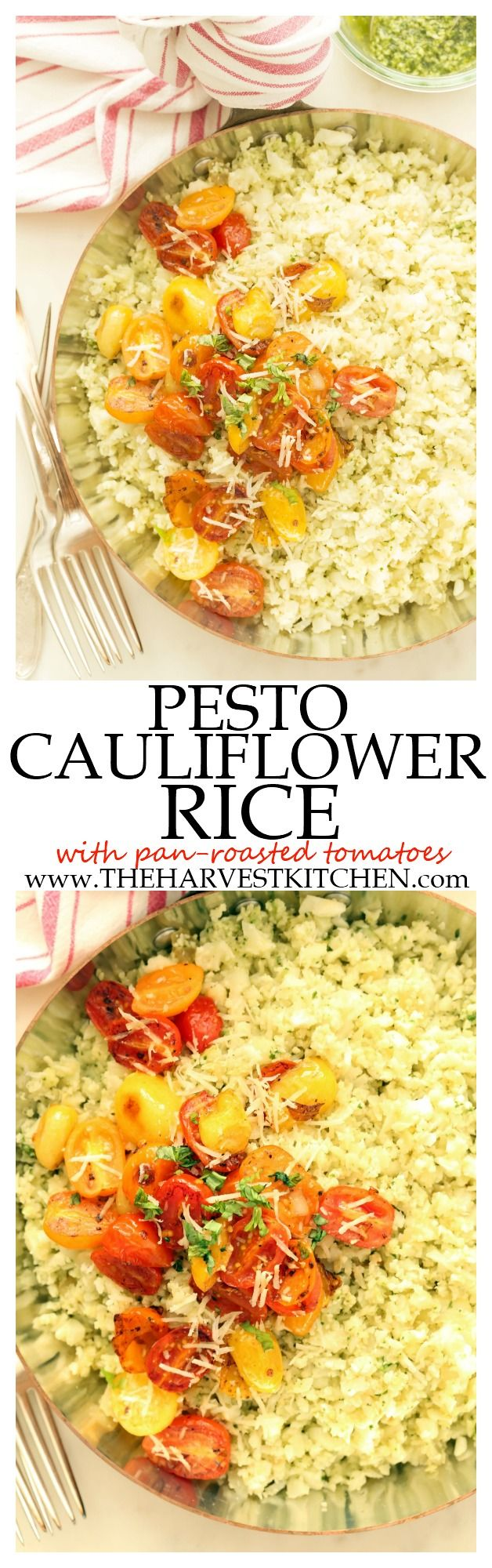 You are going to want this Pesto Cauliflower Rice in your life!!!  It's light and delicious and makes a perfect detox side dish to grilled chicken or fish!  | detox recipes | | detox side dish | | clean eating| | healthy recipes | | healthy side dish recipes | @theharvestkitchen.com