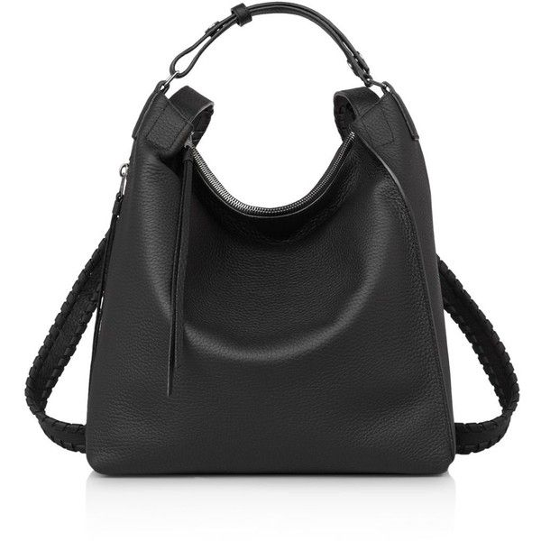 Allsaints Kita Small Leather Backpack ($405) ❤ liked on Polyvore featuring bags, backpacks, leather backpack bag, leather rucksack, genuine leather backpack, real leather backpack and allsaints bags